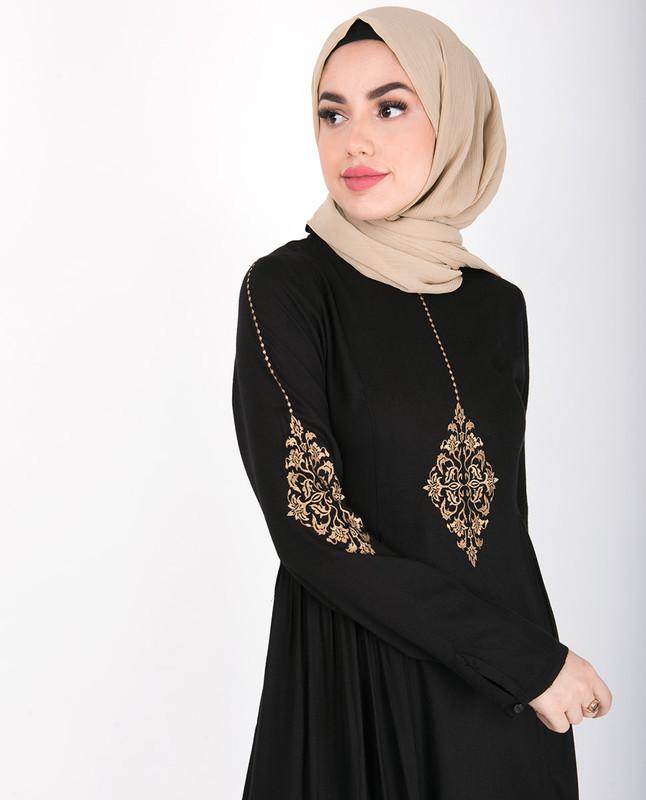 Black Gold Diamond Embroidery Abaya