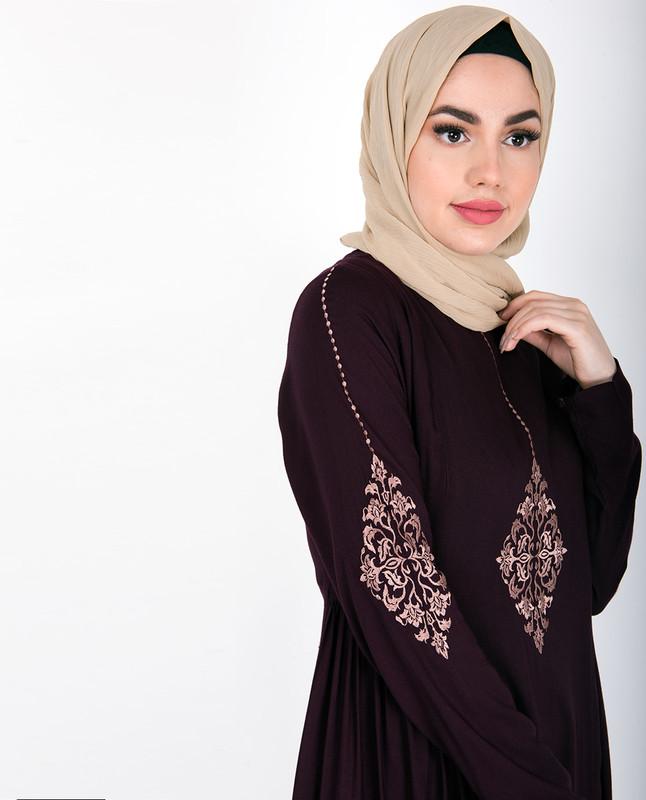 Maroon Gold Diamond Embroidery Abaya