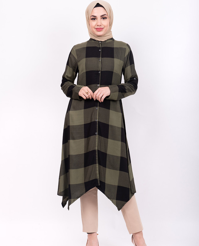 Olive Checkered High Low Shirt Dress