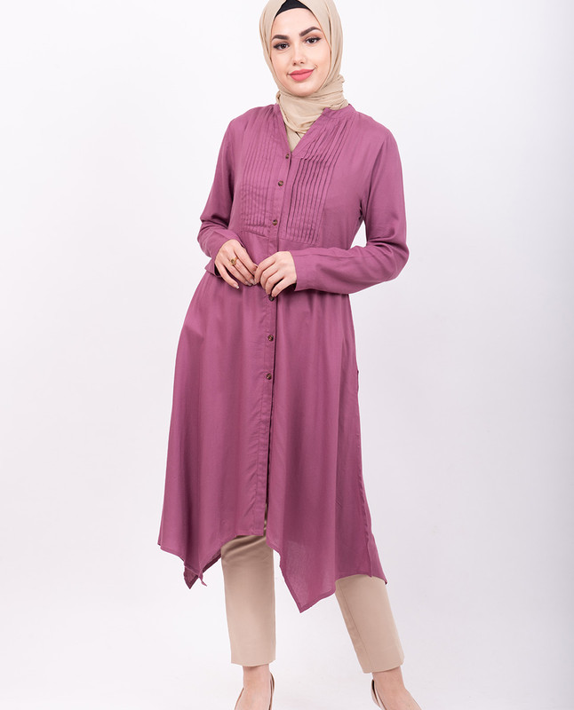 Pink Pleated High Low Shirt Dress