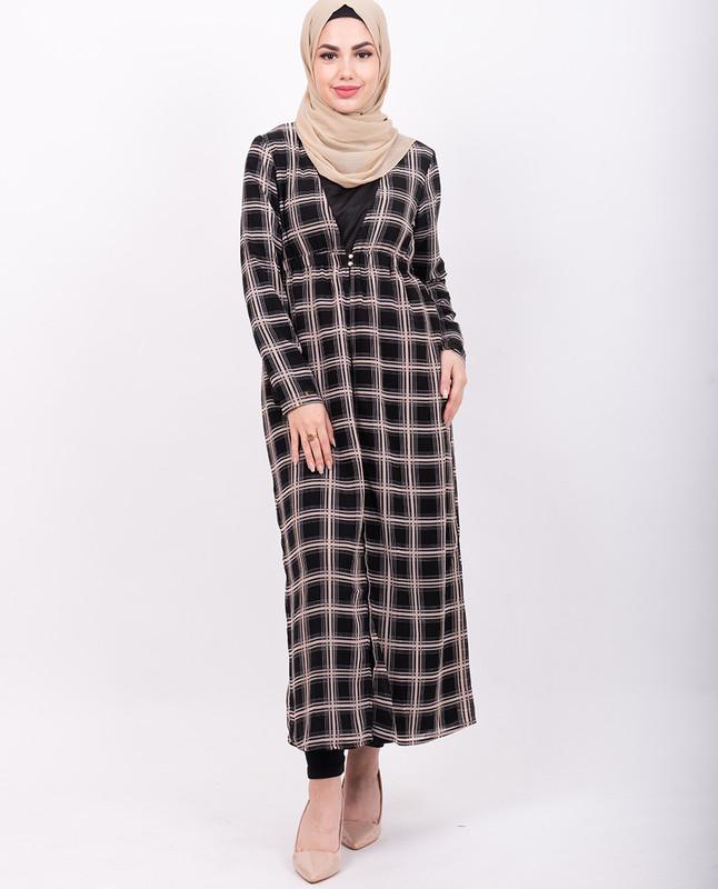 Black & Cream Checkered Sheer Outerwear