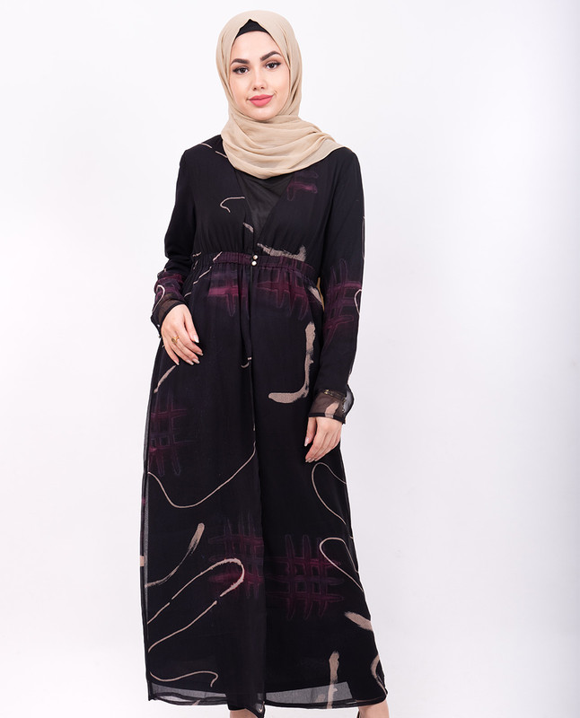 Black Abstract Print Sheer Outerwear