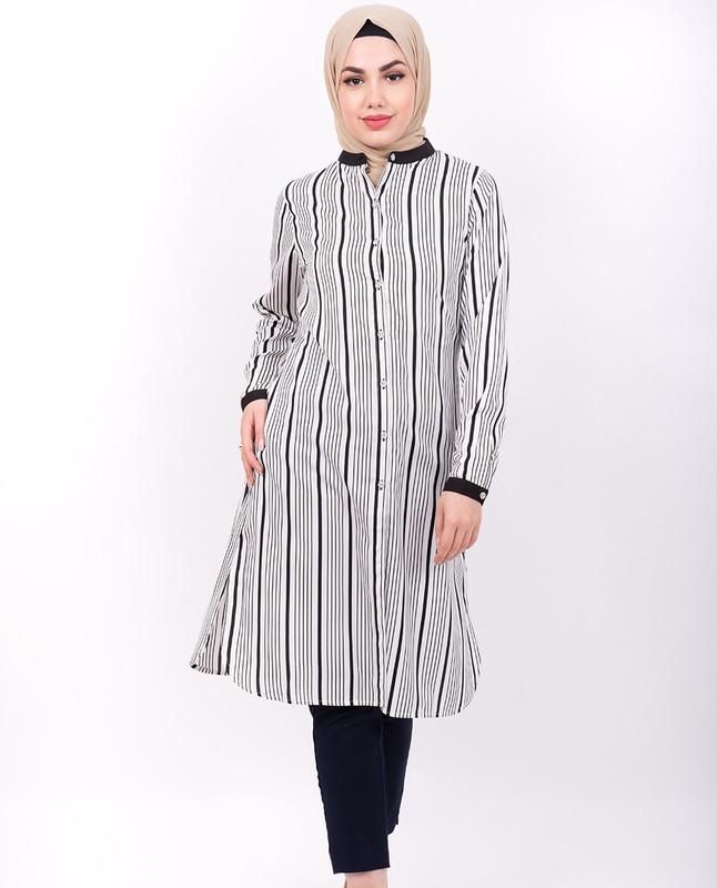 Navy & White Striper Shirt Dress