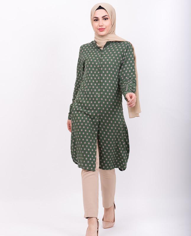 Green All Over Print Shirt Dress