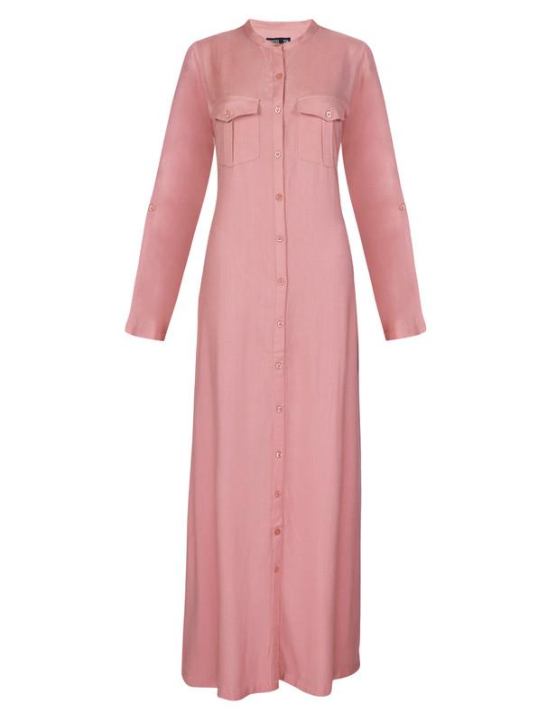 Casual Pink Full Button Abaya