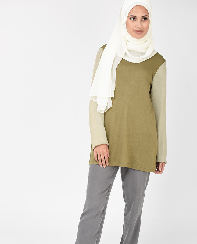 Khaki Green Long Line Top