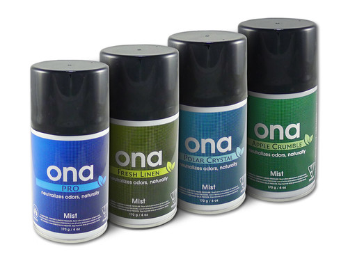 ONA-Mist Spray-can 170g  The superb odour control of ONA's air fresheners are now available in a spray-can! A press on the spray-can's trigger releases a short burst of odour eliminating spray with a clean and fresh but subtle fragrance called Fresh Linen. The ONA-Mist Spray-can can be used on it's own or operated in the ONA-Mist Dispenser. Great for odour control in small-medium sized areas.