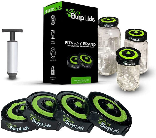 BurpLids 4 pack w/Pump