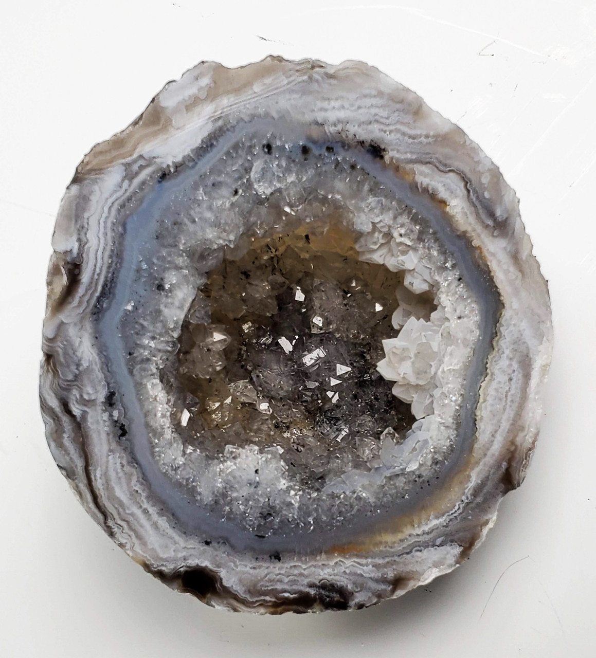 264 Cts MX-4053 Agate Slice Druzy Geode Top Rare! Blue Slice Agate Geode Cabochon Natural Slice Druzy Agate Gemstone Agate For Necklace