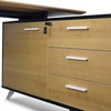 COT2861-SN 1.95m Executive Desk Right Return - Black Frame with Natural Top and Drawers (cf)