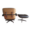 Replica Eames Lounge Chair + Ottoman - Brown Italian Leather Oak Frame