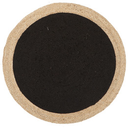 Round Jute Natural Rug Black (ux)