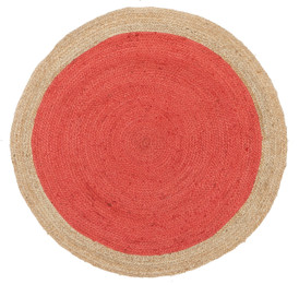 Round Jute Natural Rug Cherry (ux)