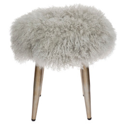 Dixie Mongolian Fur Stool - Grey (cl)