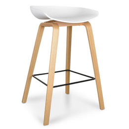 CBS2005-SD 65cm Bar Stool in White And Natural (cf)