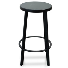 CBS2466-NH 65cm Bar Stool With Black Timber Seat - Black Frame (cf)