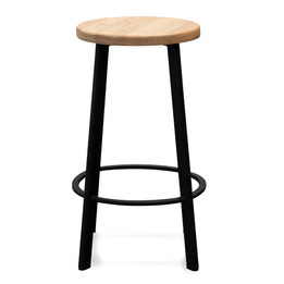 CBS2467-NH 65cm Bar Stool -With Natural Timber Seat - Black Frame (cf)