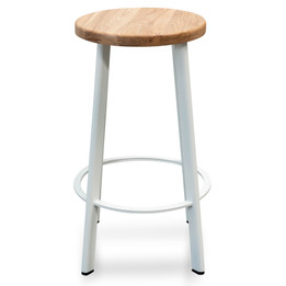 CBS2468-NH 65cm Bar Stool - Natural Timber Seat - White Frame (cf)