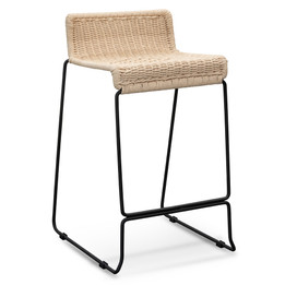 CBS2469-NH Bar Stool With Natural Cord Seat - Black Frame (cf)
