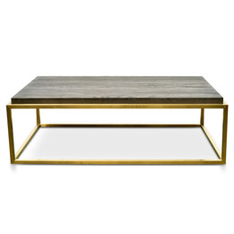 CCF2331-NI 140cm Rectangle Coffee Table - Black - Golden (cf)