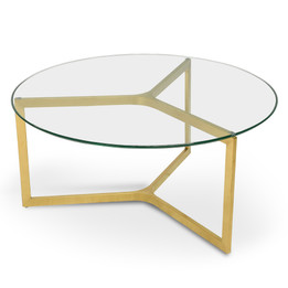 CCF2352-KS 85cm Glass Round Coffee Table - Gold Base (cf)
