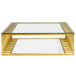 CCF2353-KS 1.3m Glass Coffee Table - Gold Base (cf)