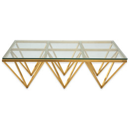 CCF2420-BS 1.2m Coffee Table - Glass Top - Brushed Gold Base (cf)