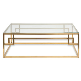 CCF2421-BS 1.2m Coffee Table - Glass Top - Brushed Gold Base (cf)