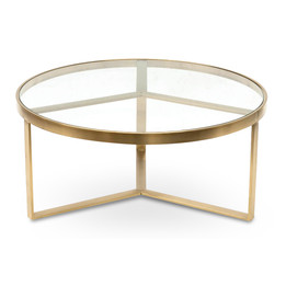 CCF2427-BS 90cm Coffee Table - Brushed Gold Base (cf)
