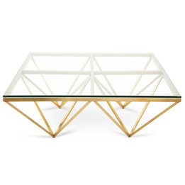 CCF2580-BS 1.05m Glass Coffee Table - Brushed Gold Base (cf)