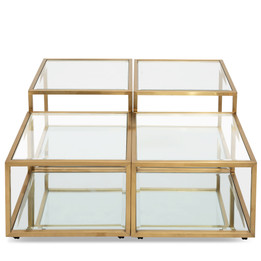 Set of 4 - CCF2585-BS 100cm Glass Coffee Table - Brushed Gold Base (cf)