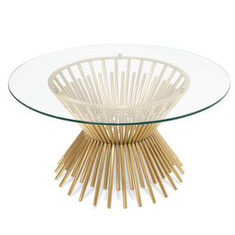 CCF2588-BS 90cm Glass Coffee Table - Brushed Gold Base (cf)