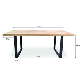 CDT2241 Reclaimed Dining Table 2.4m - Rustic Natural (cf)