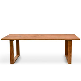 CDT2303-SI 2.2m Dining Table - Oak timber panels - Oak Wrapped Legs (cf)