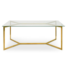 CDT2360-KS 1.9m Glass Dining Table -  Gold Base (cf)