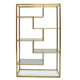 CDT2365-KS 1.2m Glass Shelving Unit - Gold  Frame (cf)
