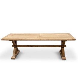 CDT237 Elm Wood 2.4m Dining Table - Rustic Natural (cf)