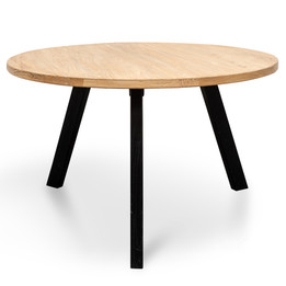 CDT2407 Reclaimed 1.25m Round Dining Table - Black Legs (cf)