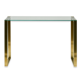 CDT2424-BS Glass Console Table - Brushed Gold Base (cf)