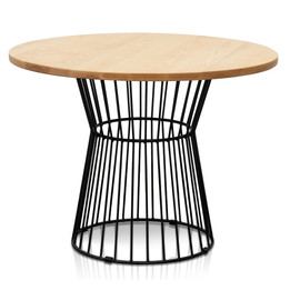 CDT2472-NH 100cm Round Natural Top Dining Table - Black Frame (cf)