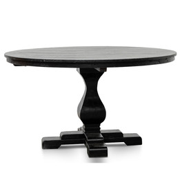 CDT2480 Reclaimed 140cm Round Dining Table - Rustic Black (cf)