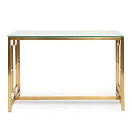 CDT2583-BS Glass Console table - Brushed Gold Base (cf)
