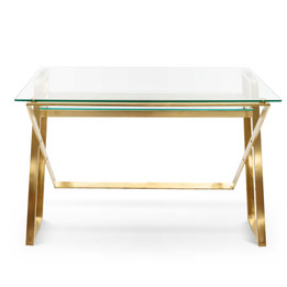 COF2589-BS 120cm Glass Home Office Desk - Brushed Gold Base (cf)