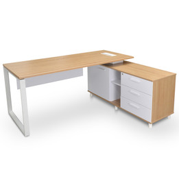 COT2095-SN 180cm Executive Office Desk With Right Return - Natural (cf)