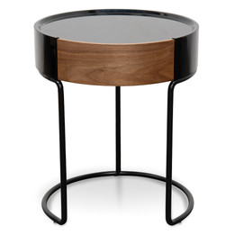 CST2201-IG Scandinavian Side Table - Walnut - Black (cf)