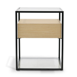 CST2202-IG Scandinavian Side Table - Oak - Black Frame (cf)