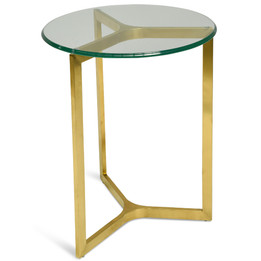 CST2356-KS Round Glass Side Table - Gold Base (cf)