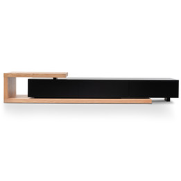 Dwell Scandinavian Lowline 2.4-3.07m Entertainment TV Unit - Natural Oak - Black matt (cf)