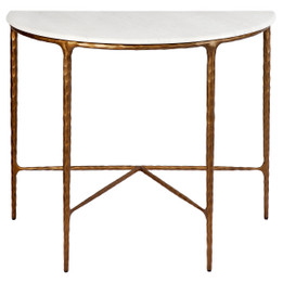 Heston Marble Demilune Table - Brass (cl)