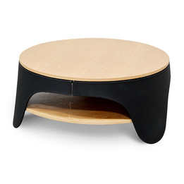 CCF2224-SD 82cm Round Coffee Table - Natural - Black (cf)